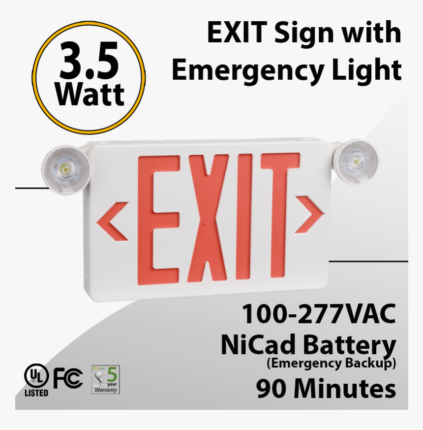 Exit Sign With Emergency Light 90 Minute Discharge - Exit Sign, HD Png Download, Free Download