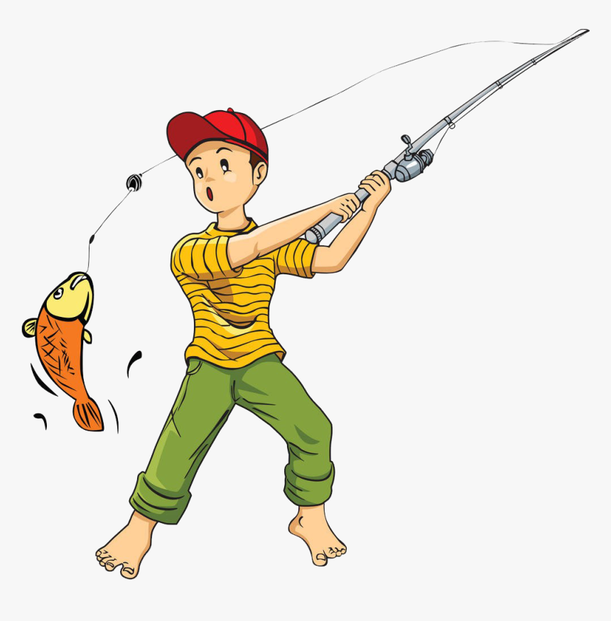 Fishing Rod Cartoon Clip - Fishing Cartoon Png, Transparent Png, Free Download