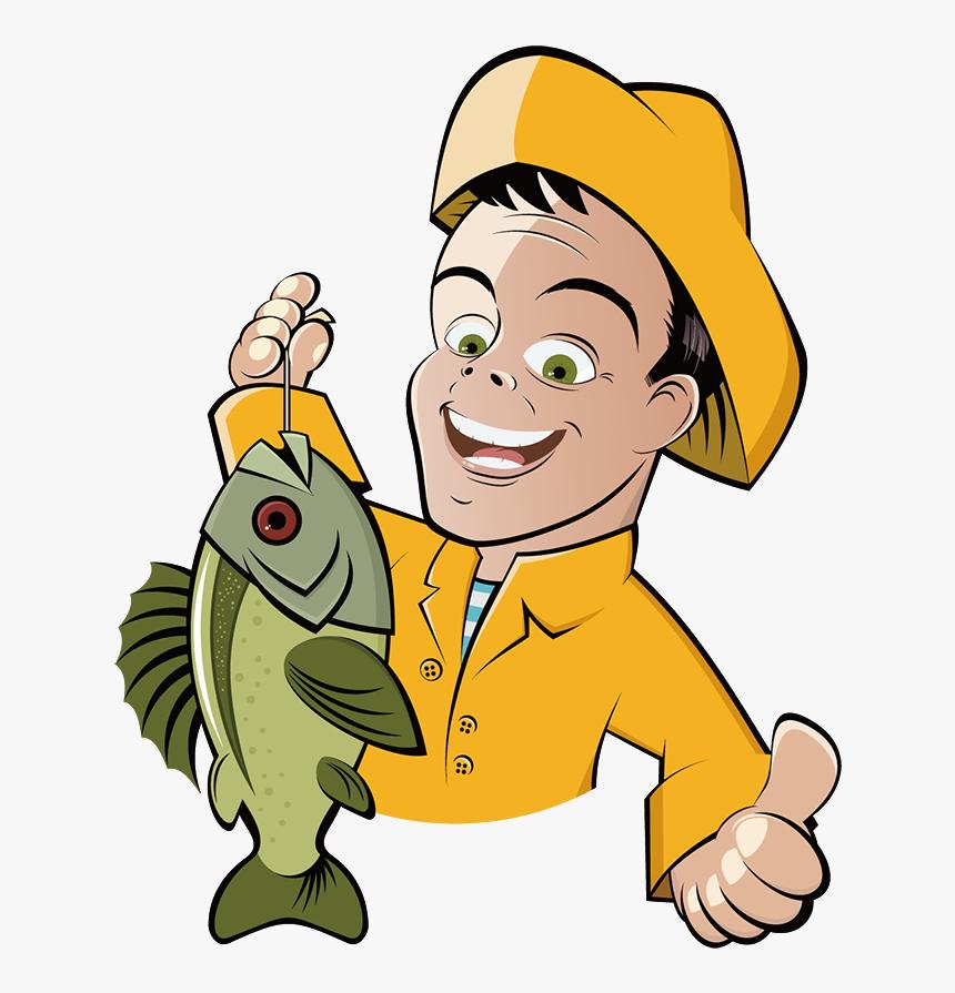 Fishing Cartoon Fisherman Clip Art - Cartoon Man With Fish, HD Png Download, Free Download