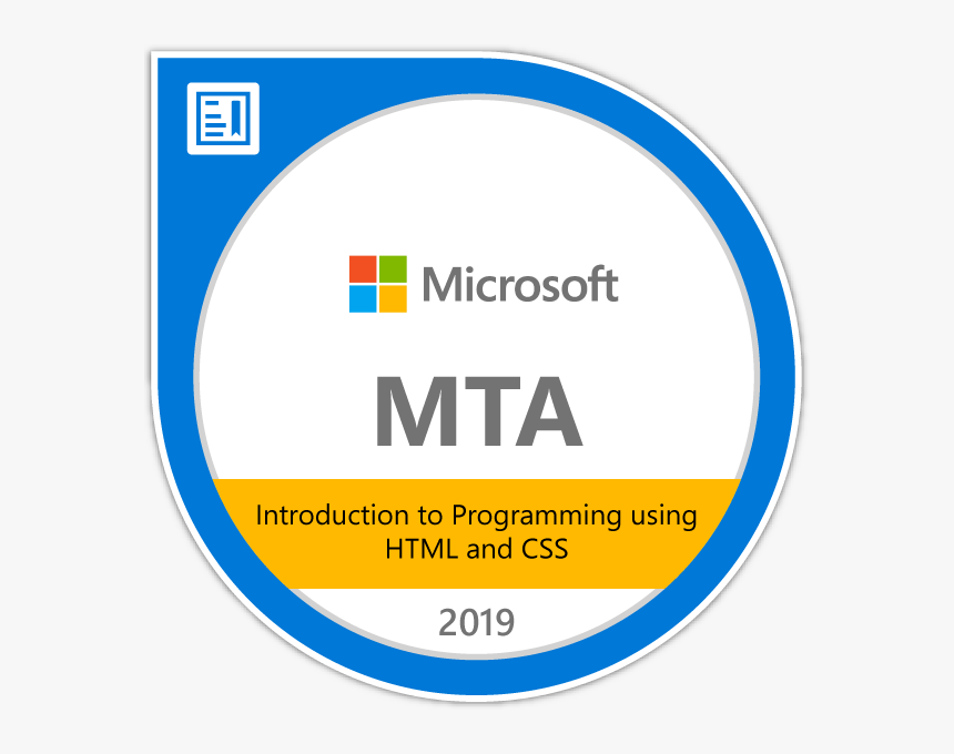 Introduction To Programming Using Html And Css - Microsoft Technology Associate Badge, HD Png Download, Free Download
