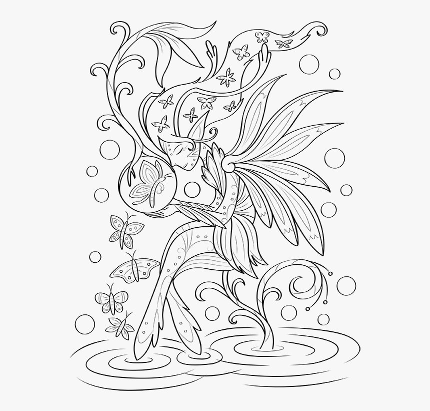 Butterflies And Fairies Coloring Page - Butterfly And Fairy ...
