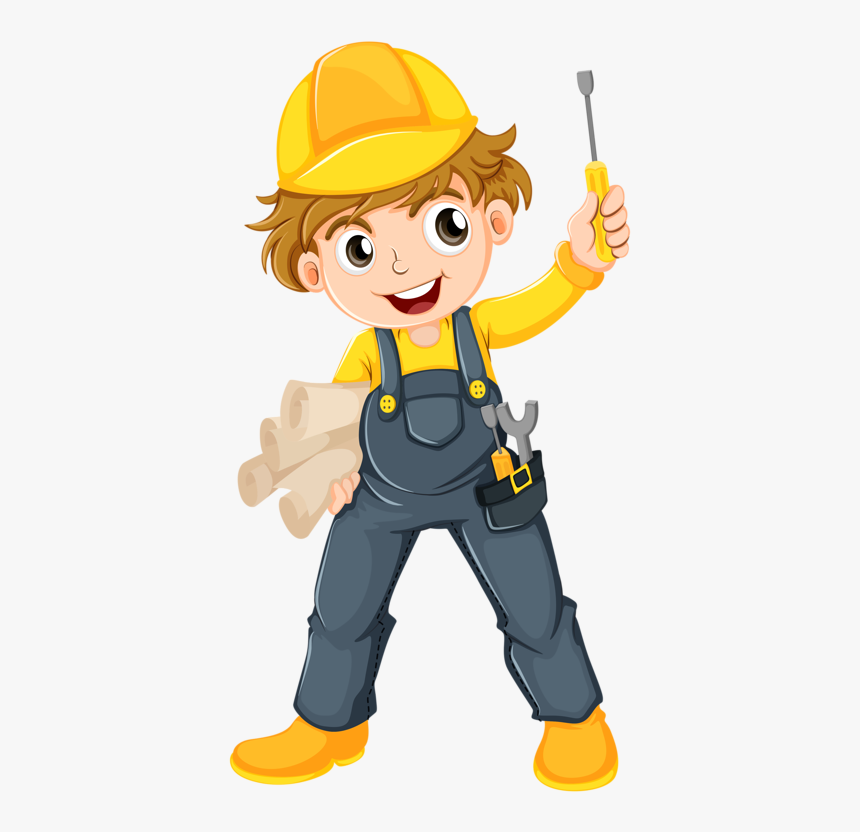 Female Clipart Handyman - Kid Construction Worker Clipart, HD Png Download, Free Download