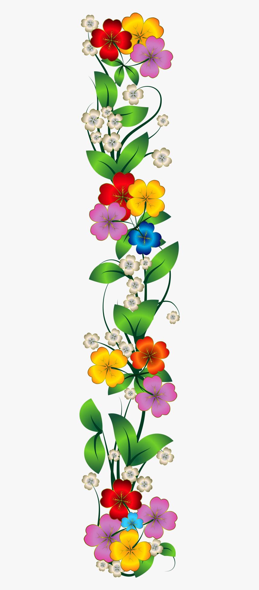 Flower Side Border Png, Transparent Png, Free Download