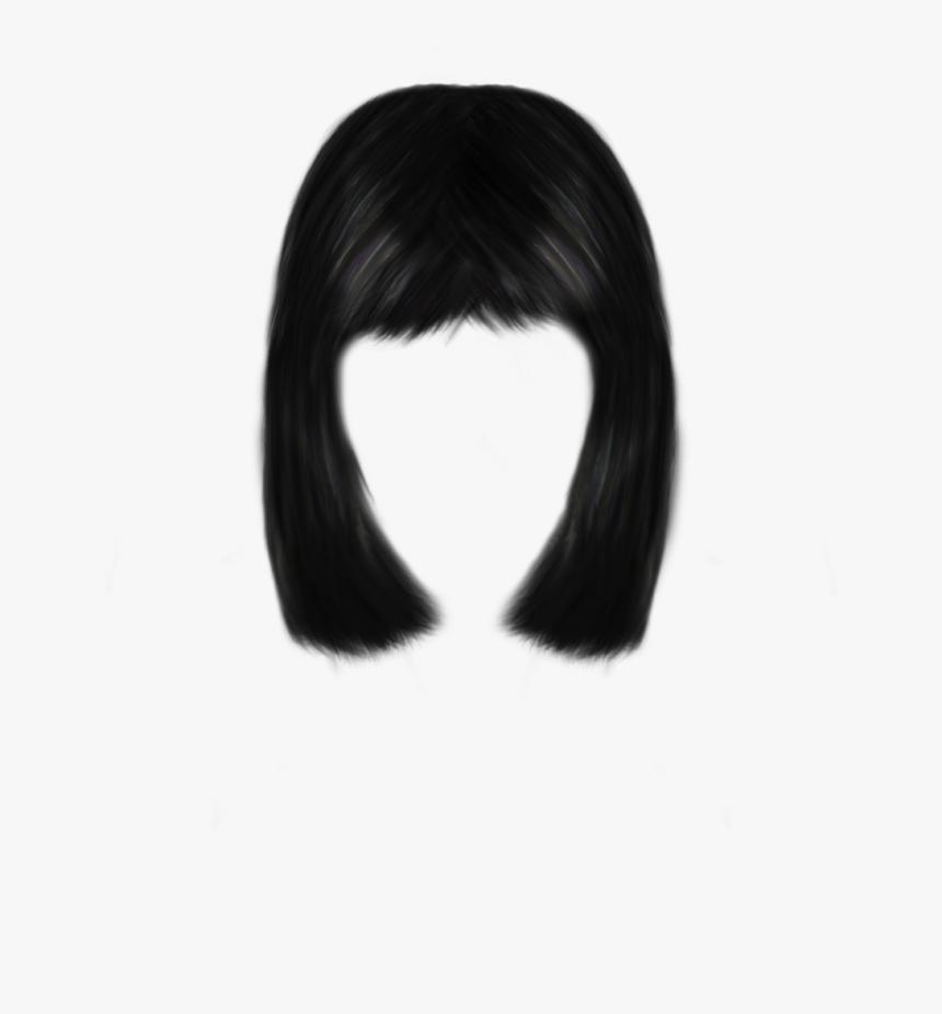 Hair,human,bangs,long Hair,fashion Hair,lace Wig,bob - Lady Black Hair Png, Transparent Png, Free Download