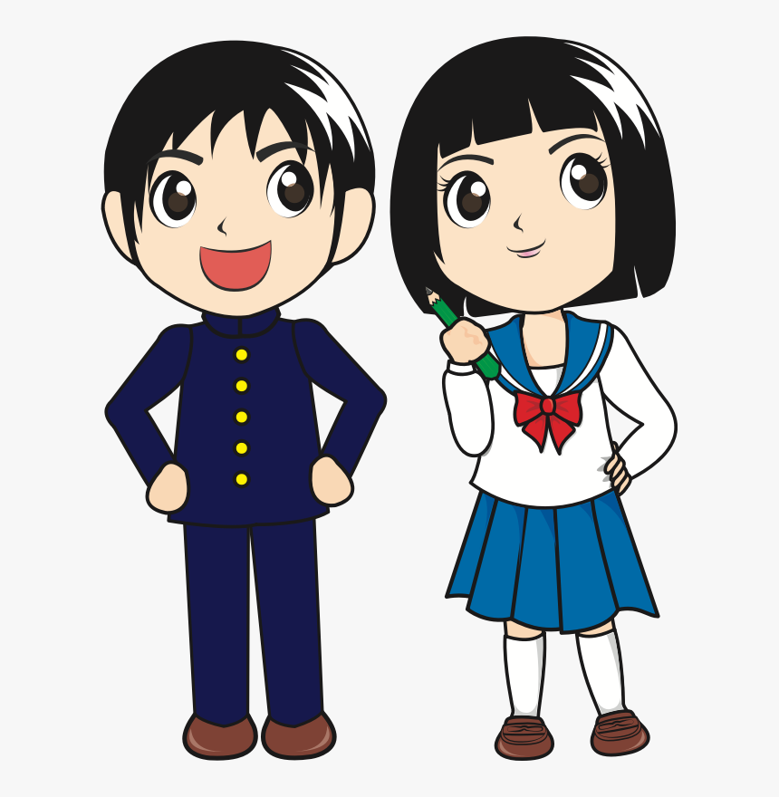 Standing,boy,fictional Character - Boy And Girl Student Clipart, HD Png Download, Free Download