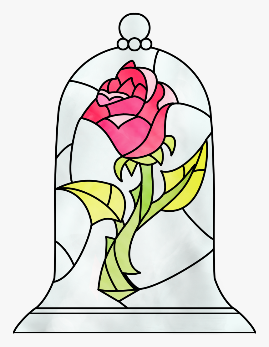 Belle Beast T-shirt Drawing Rose - Draw Beauty And The Beast Flower, HD Png Download, Free Download