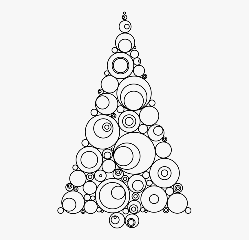 Line Art,christmas Decoration,tree - Circle Drawing Christmas Tree, HD Png Download, Free Download