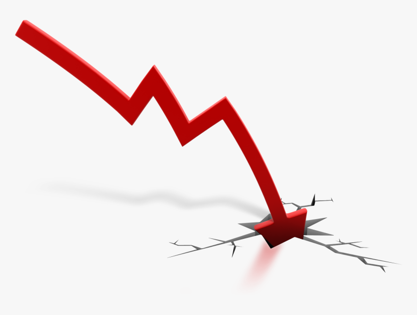 Red Arrow Down Crash 1600 Clr - Stocks Going Down Transparent, HD Png Download, Free Download