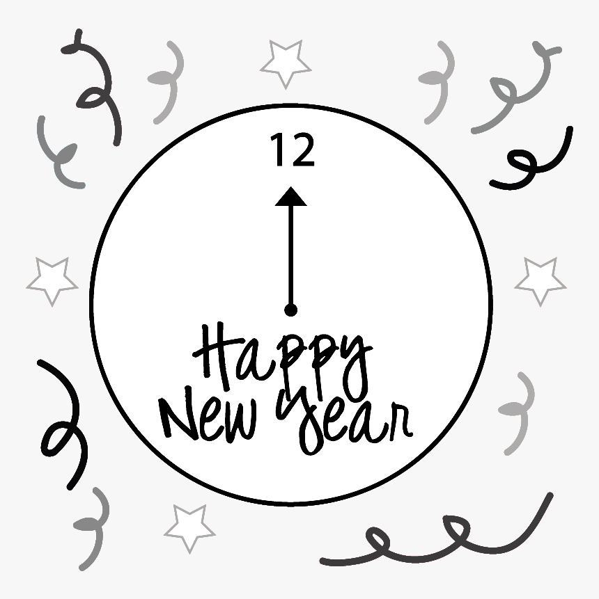 Happy New Year Black And White Clipart, HD Png Download, Free Download