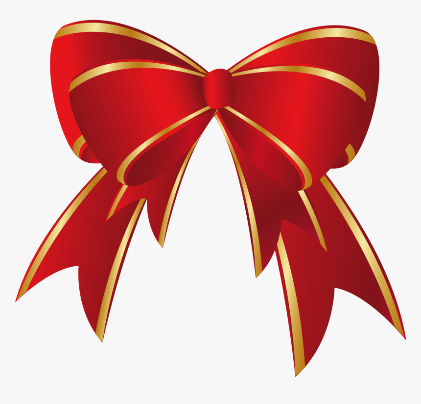 Free Christmas Ribbon Clipart - Red Christmas Bow Clipart, HD Png Download, Free Download
