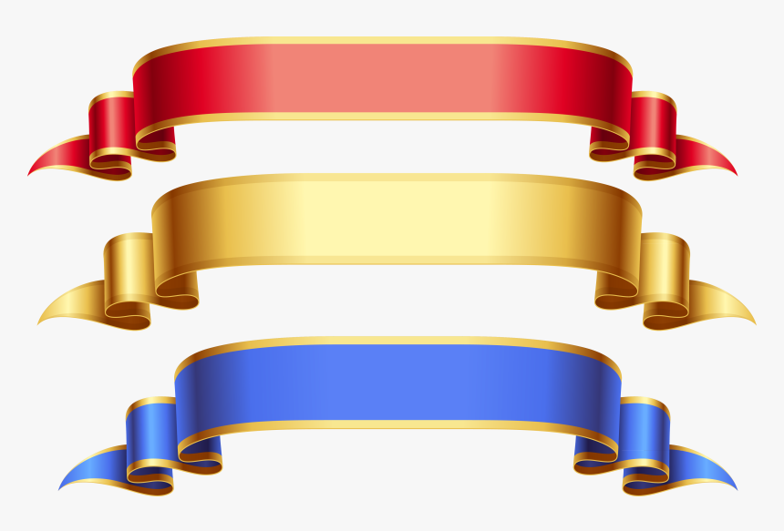 Red Gold Blue Ribbon Banner Png - Gold And Blue Ribbon, Transparent Png, Free Download