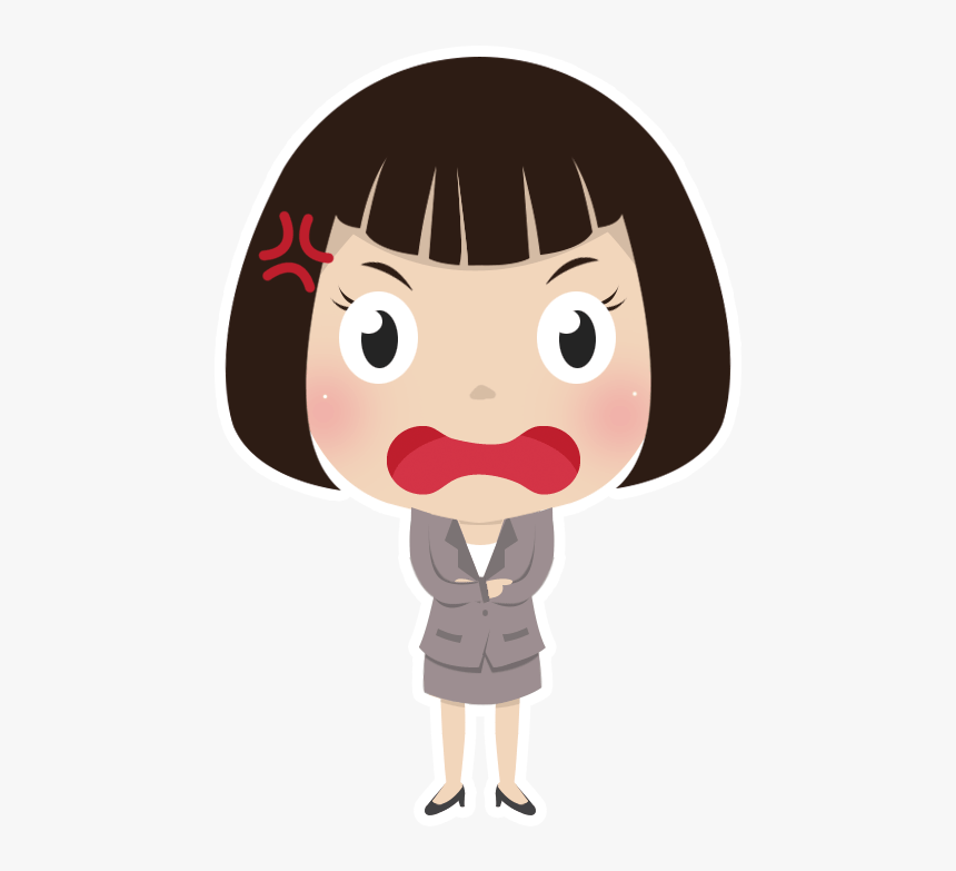 Free Angry Girl People High Resolution Clip Art - Sad Cartoon Girl Stickers, HD Png Download, Free Download