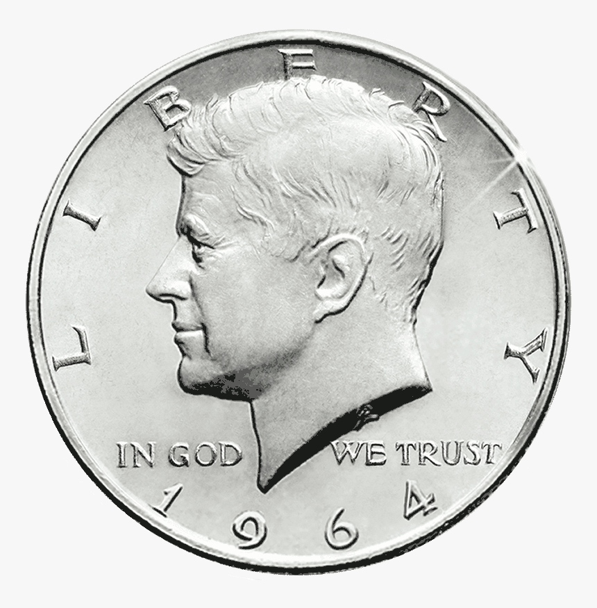 Pre-1964 90% Silver Us Half Dollar - 1964 Kennedy Half Dollar Gold And Silver, HD Png Download, Free Download