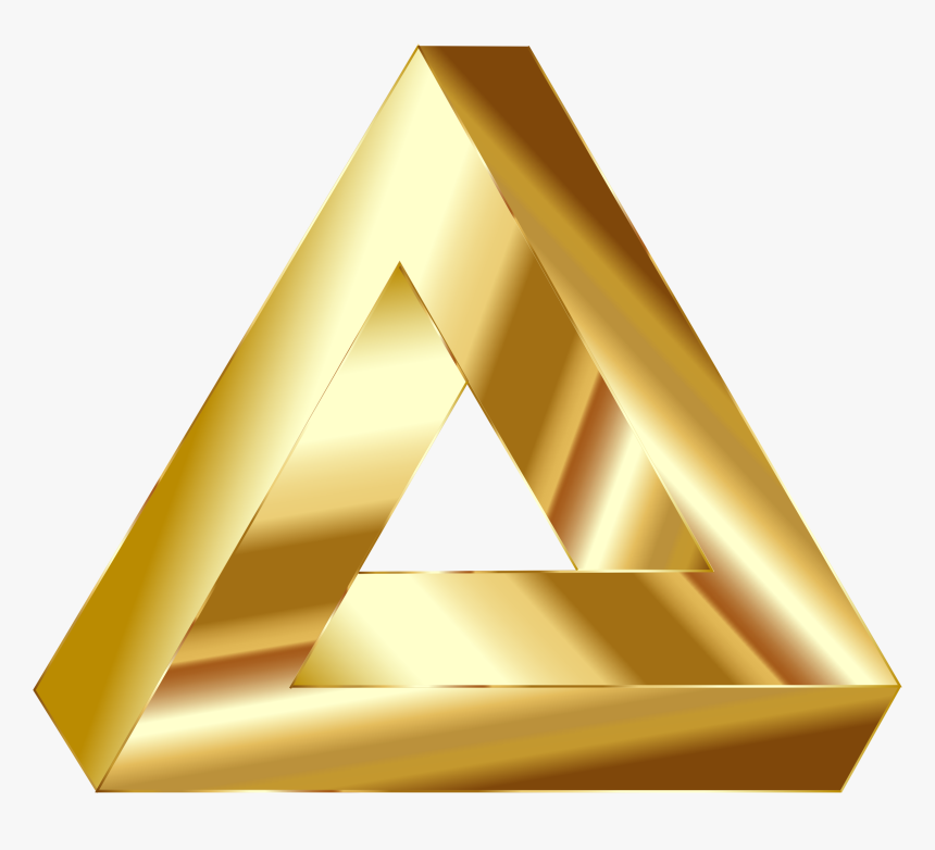 Penrose, Triangle, Optical Illusion, Abstract - Triangle Gold, HD Png Download, Free Download