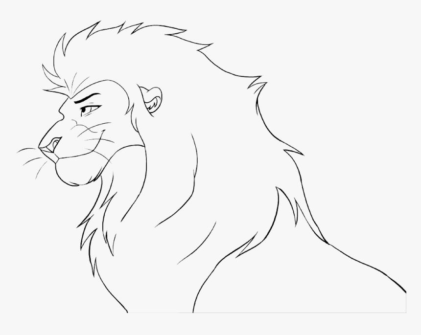 Drawn Lion Male Lion - Lion Head Coloring Page, HD Png Download, Free Download