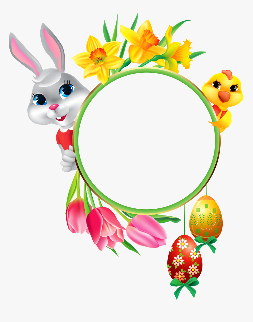 And With Easter Frame Round Chicken Egg Clipart - Easter Frames For Facebook, HD Png Download, Free Download