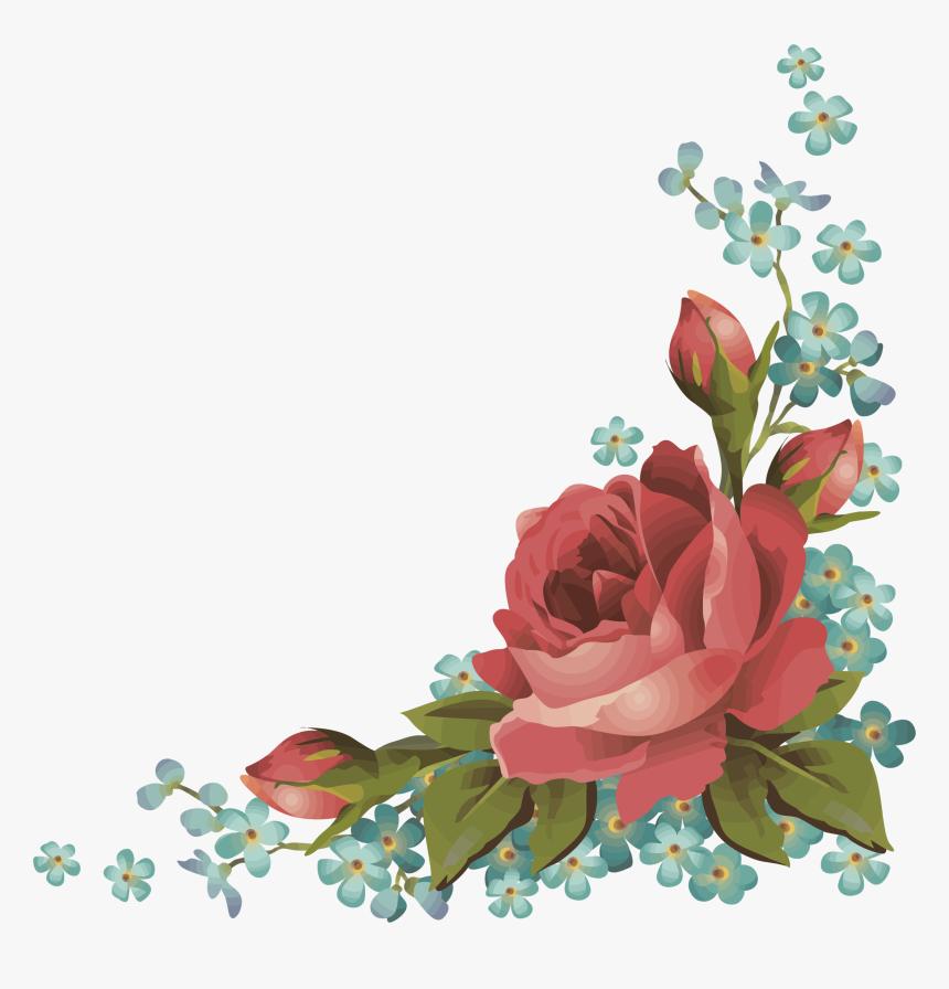 Frames Frame Borders Border Roses Rose Flowers Flower - Corner Floral Border Png, Transparent Png, Free Download