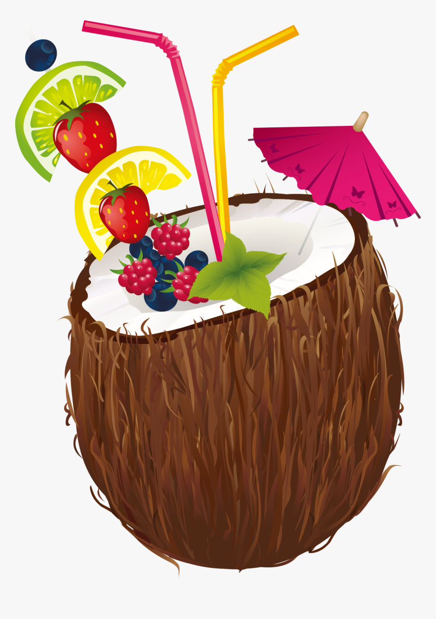 Cocktail Water Milk Clip - Coconut Drink With Umbrella, HD Png Download, Free Download