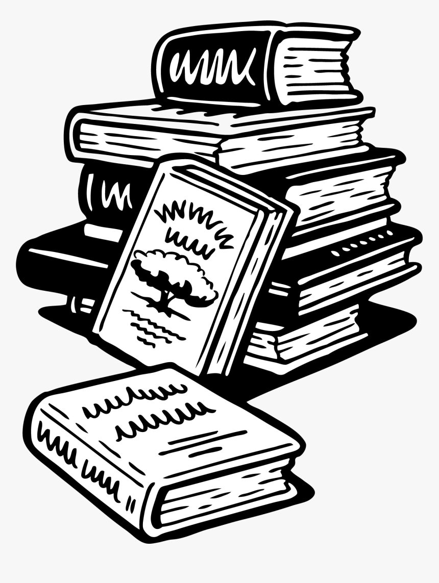 Book Black And White School Books Clipart Clip Art - Books Cartoon Black And White, HD Png Download, Free Download