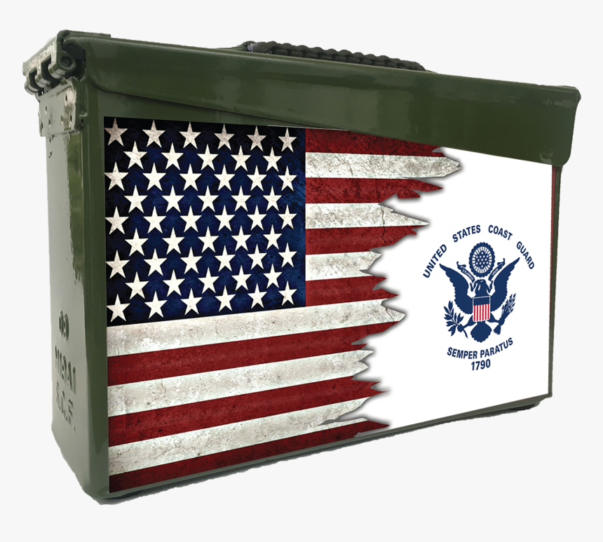 Dual Us Flag Coast Guard Custom Ammo Can - Stock Exchange, HD Png Download, Free Download
