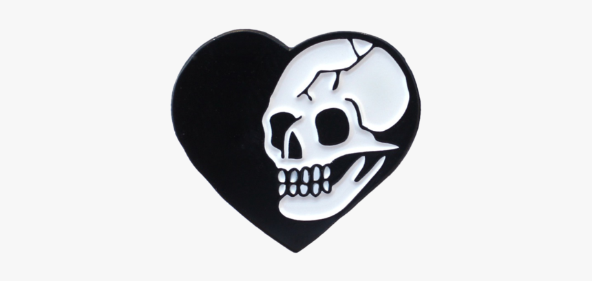 Heart Skull Pin - Black Heart With Skull, HD Png Download, Free Download