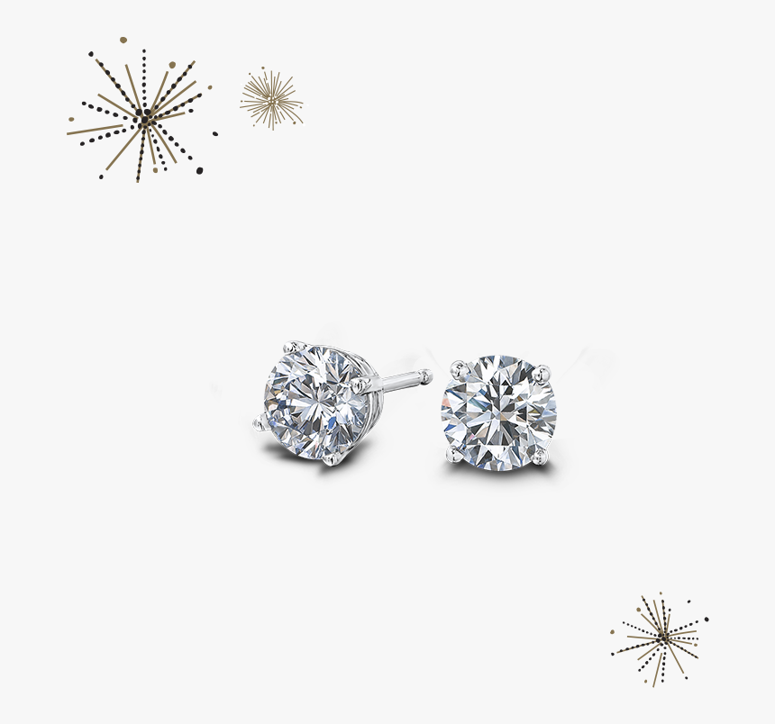 Round Brilliant Diamond Earrings - Diamond Earrings Transparent Background, HD Png Download, Free Download