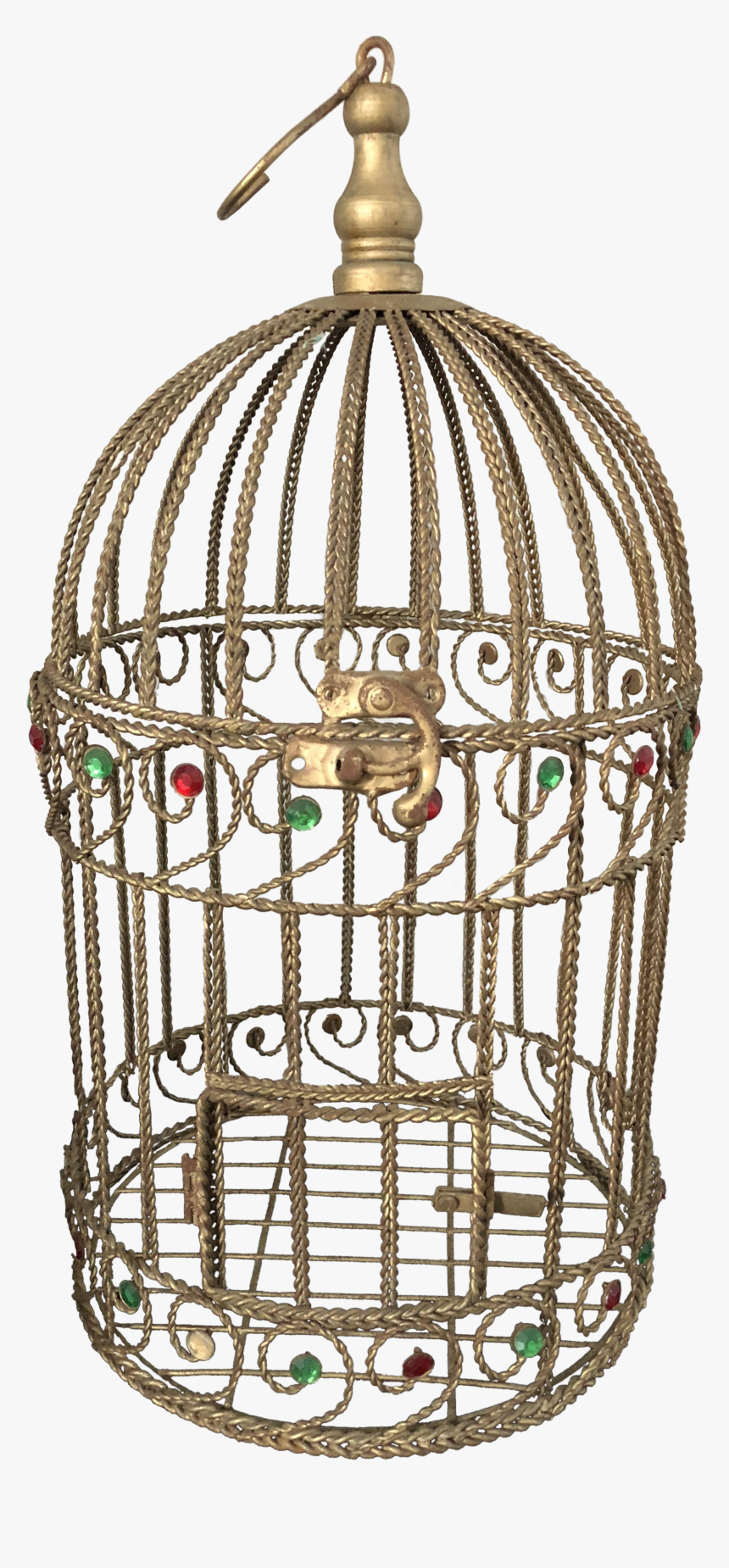 Vintage Braided Wire Jeweled Bird Cage - Cage, HD Png Download, Free Download