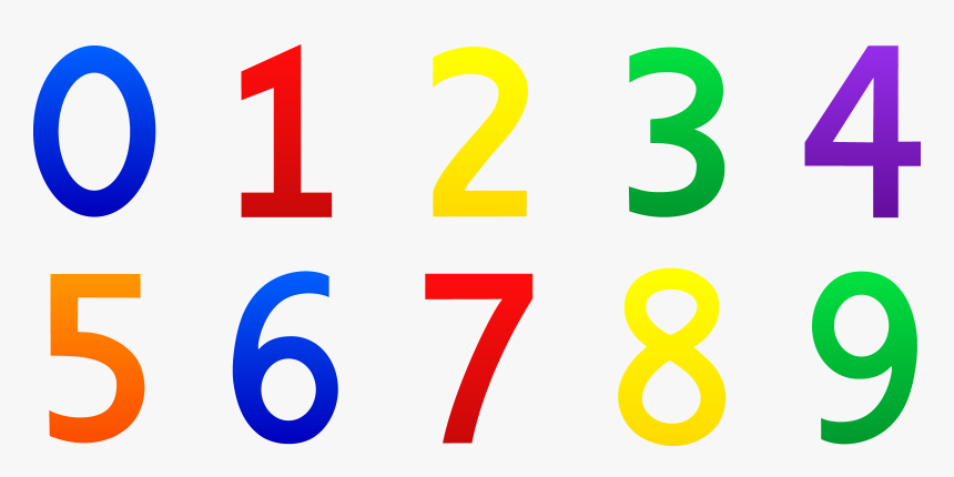 Numbers Clipart 1 - Numbers 0 9 Clipart, HD Png Download, Free Download