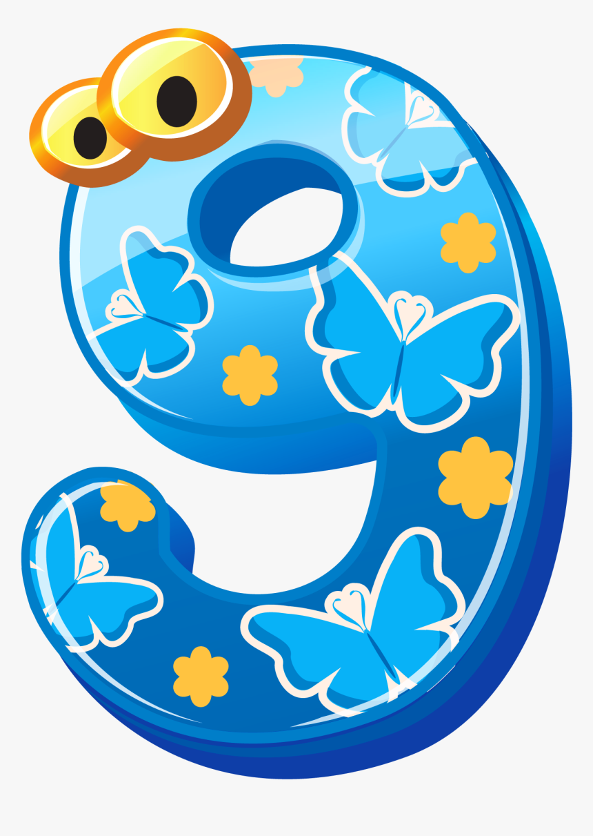 Cute Numbers Clipart - Cute Number 9 Clipart, HD Png Download, Free Download