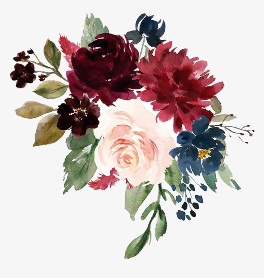 #watercolor #flowers #floral #bouquet #burgundy #navy - Burgundy And Navy Flowers, HD Png Download, Free Download