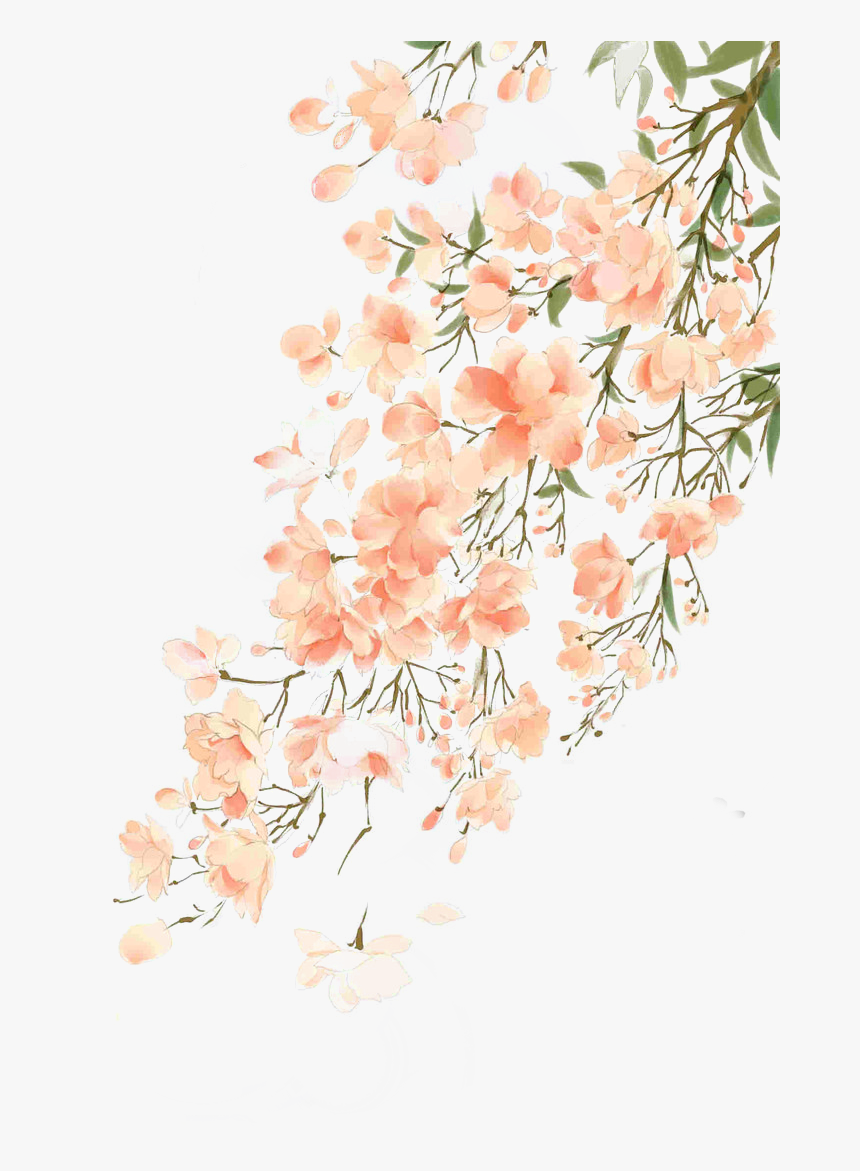 Flowers Png Remixit Peach Flower Watercolor Background
