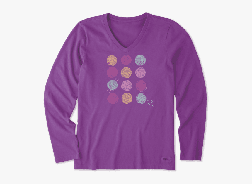 """Women""""s Knitting Is Good Long Sleeve Crusher Vee - Womens Thanksgiving Shirts Funny, HD Png Download, Free Download"""