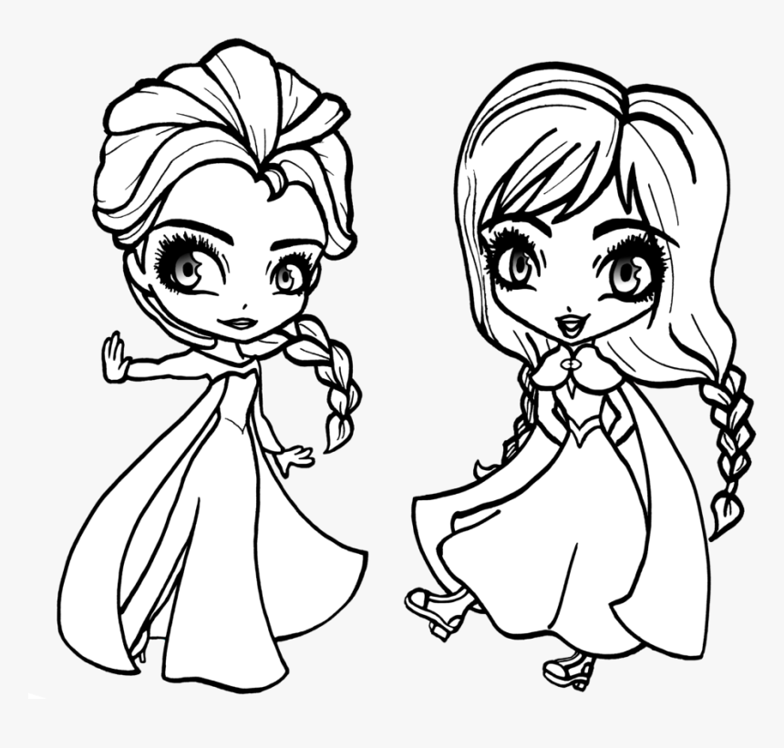 Frozen Elsa Coloring Pages Chibi - Baby Elsa And Anna Coloring Pages, HD Png Download, Free Download
