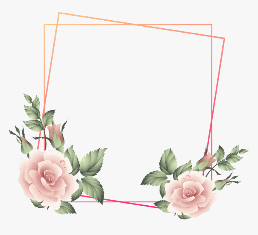 #rose #square #floral #frame #glitter #geometric #golden - Garden Roses, HD Png Download, Free Download