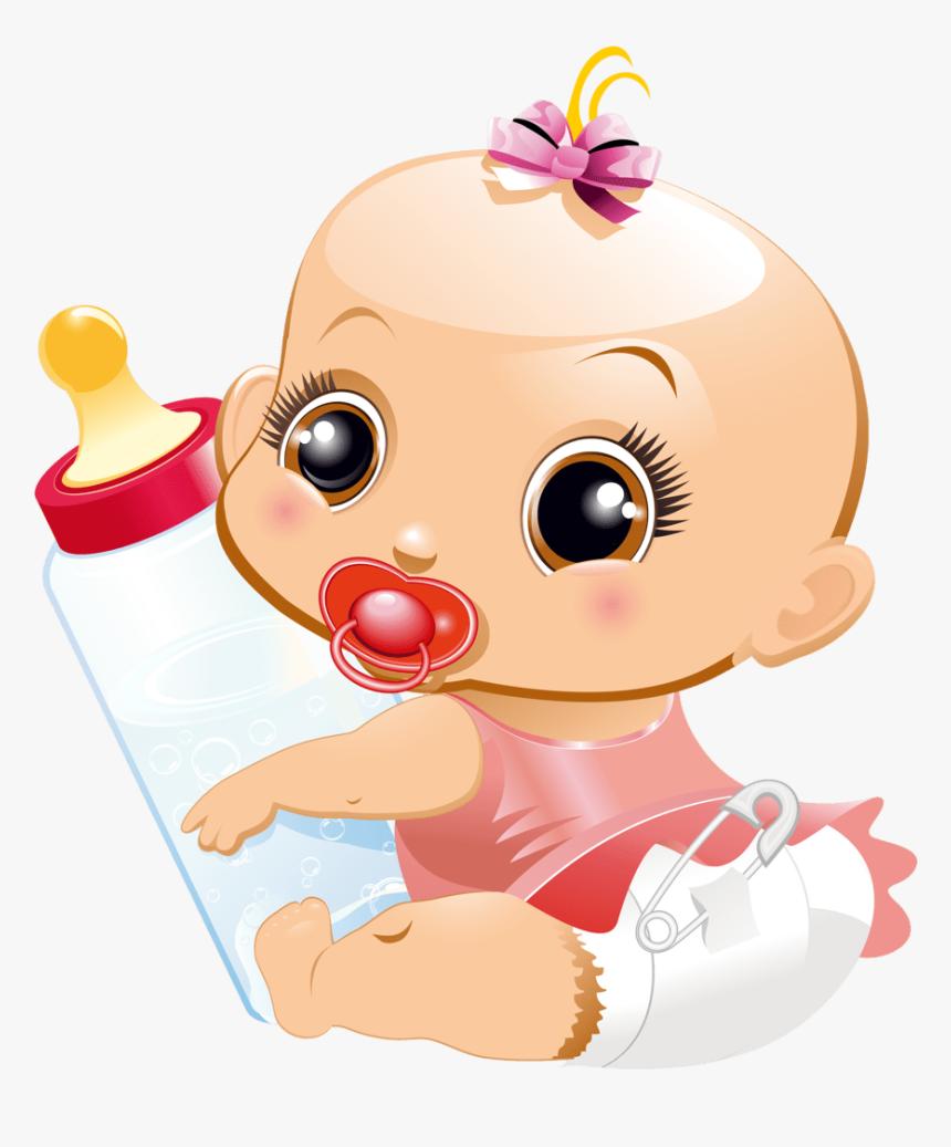 Baby Girl Clip Art - Bebe Con Biberon Animado, HD Png Download, Free Download