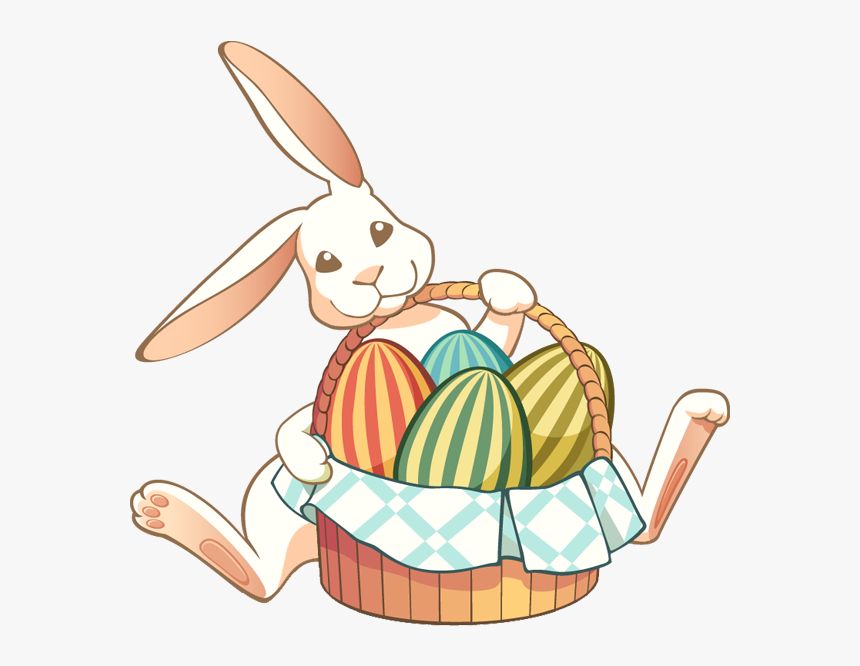 Transparent Baby Bunny Png - Easter Rabbit With Basket, Png Download, Free Download
