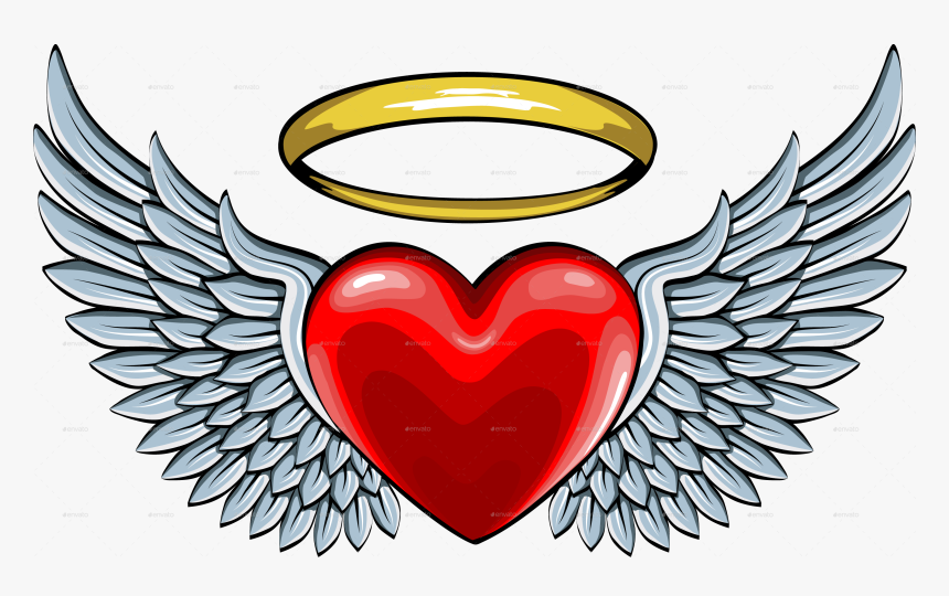 Vector Freeuse Library Halo Clipart Angel Wings Heart - Angel Wings On Heart, HD Png Download, Free Download