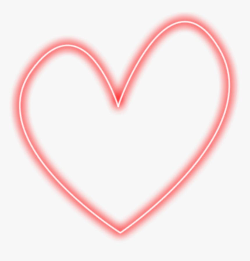 Red Heart Neon Corazon Rojo Vermelho Sticker Freetoedit - Coração Vazado Png, Transparent Png, Free Download