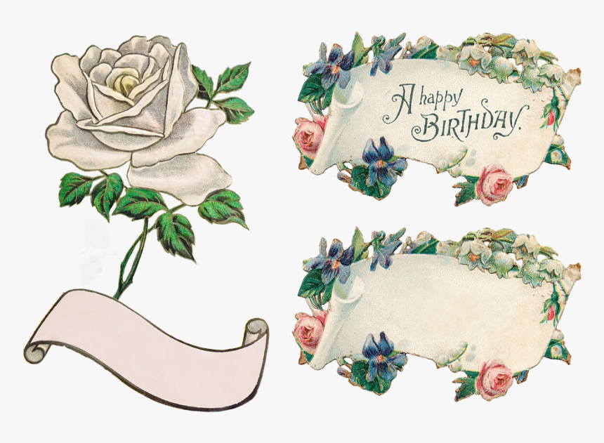 Banner Flowers Rose Clip Art Transparent Isolated Vintage Happy Birthday Clipart Free Hd Png Download Kindpng