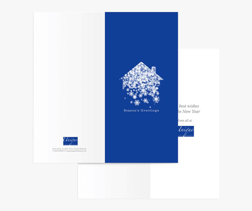 House And Snowflake Christmas Card - Christmas Card For Real Estate, HD Png Download, Free Download