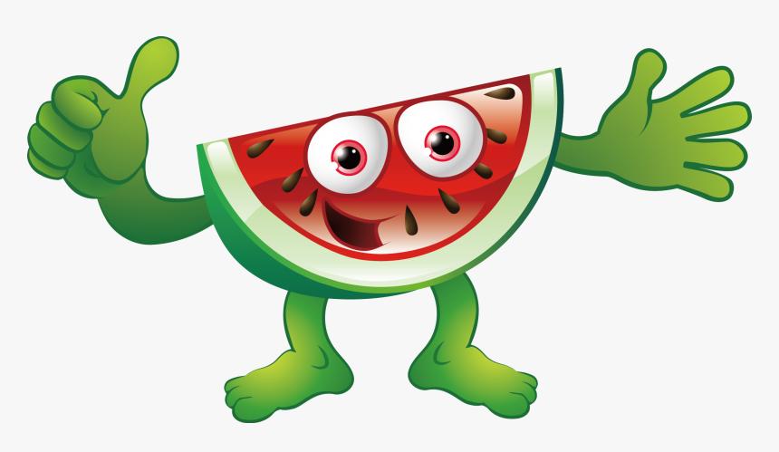 Watermelon Guyfood Clipartart - Imagenes De Frutas Caricaturas, HD Png Download, Free Download