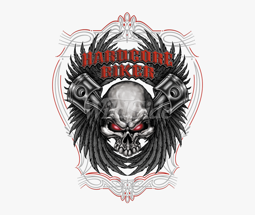 Hardcore Biker With Pistons And Skull - Motorcycle, HD Png Download, Free Download