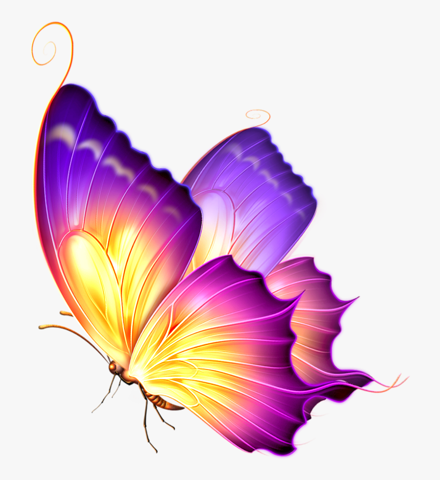#ftestickers #butterfly #glow #pink #purple - Butterfly Png For Editing, Transparent Png, Free Download