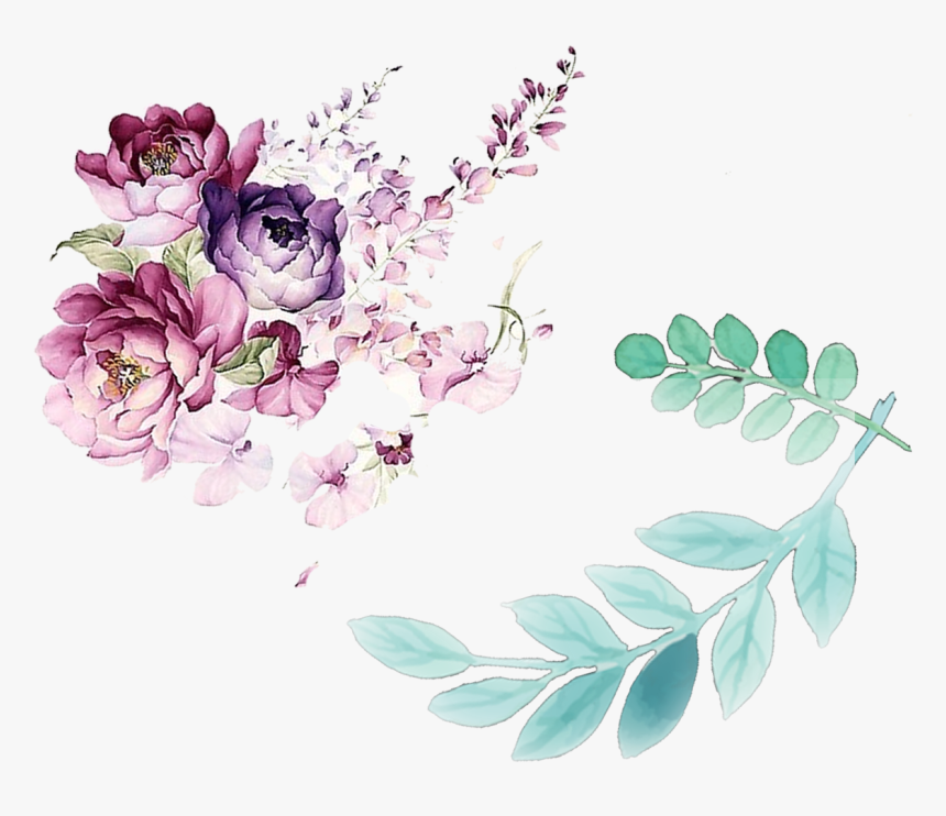 Flower Leaves Watercolor Design Floral Decorated Painting - Water Color Flower Design, HD Png Download, Free Download