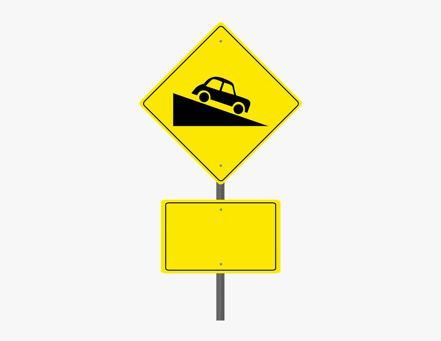 Road Sign, Steep Hill Ahead, Warning Sign, Blank Sign - Road Hill Sign Png, Transparent Png, Free Download