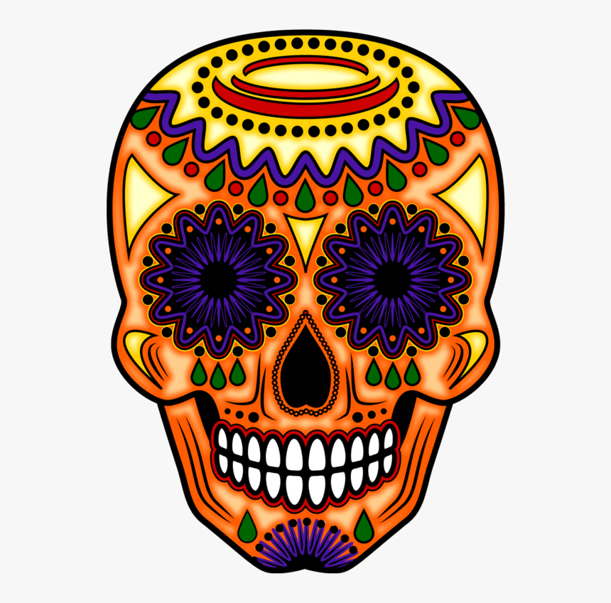 Transparent Candy Skull Png - Day Of The Dead Orange, Png Download, Free Download