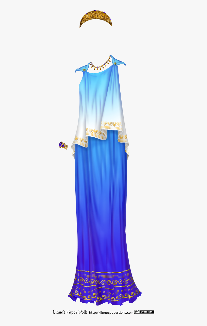 A Blue Peplos, Which Is A Sleeveless Draped Garment - Ancient Greece Paper Dolls, HD Png Download, Free Download