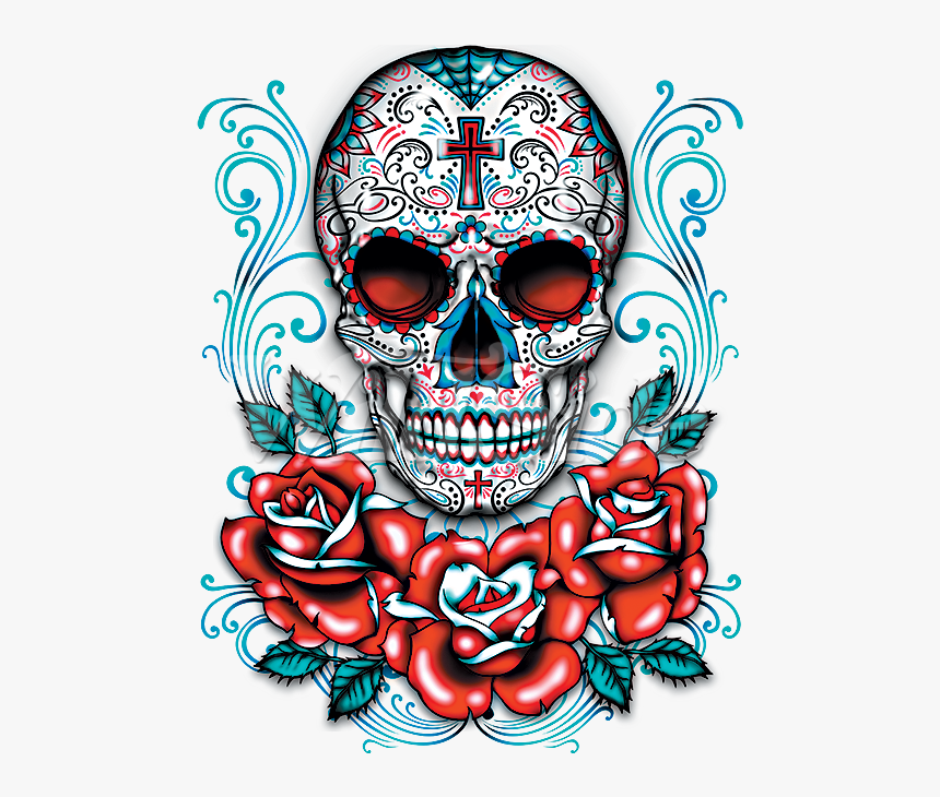 Transparent Red Skull Png - Day Of The Dead Skull With Roses, Png Download, Free Download
