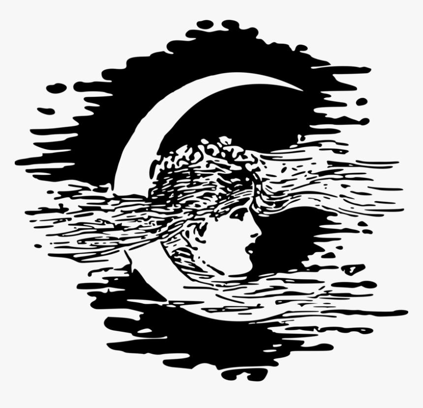 Visual Arts,art,flower - Moon Illustration Vintage Png, Transparent Png, Free Download