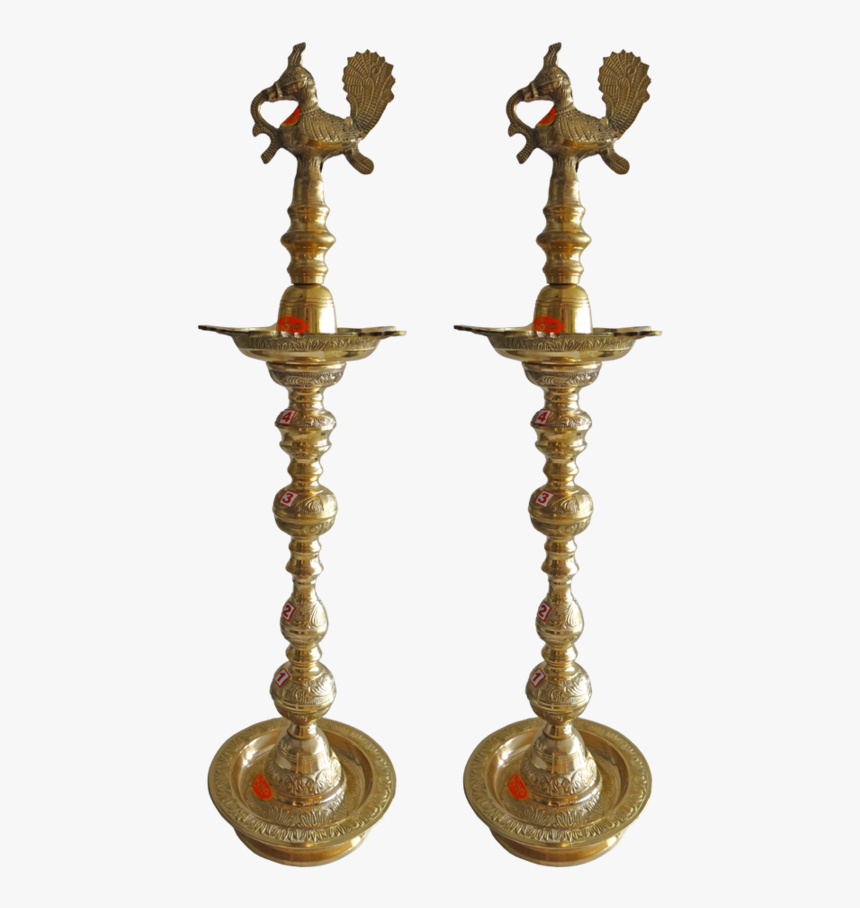 Pair Of Amazing Brass Kuthu Vilakku With Peacock, 10 - Brass, HD Png Download, Free Download